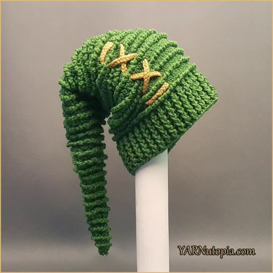 Link to the Past Stocking Cap - free crochet pattern and video at YARNutopia by Nadia Fuad.