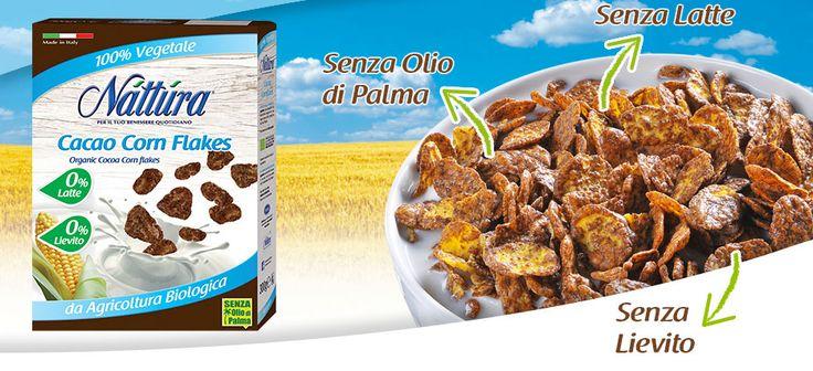 Croccanti #fiocchi di #mais al cacao dolcificati con sciroppo di riso: i #Cacao #Corn #Flakes sono 100% vegetali, da agricoltura biologica e senza olio di palma! #healthy #breakfast