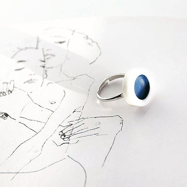 OLGA KABIE Ring in deep ocean blue |Handcrafted Porcelain + Sterling Silver Rhodium Plated| #olgakabie