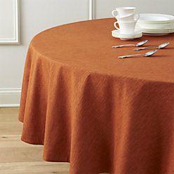 """Linden Sienna Orange 90"""" Round Tablecloth"""