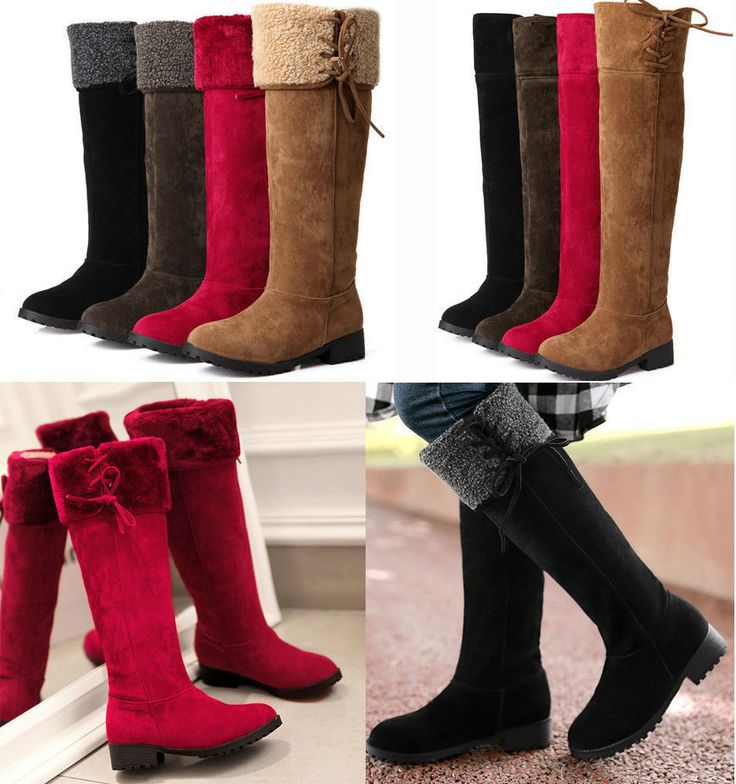New Womens Warm Fur Lining Tall Boots Med Heels Pull On Riding Boots #Handmade #SnowWinter