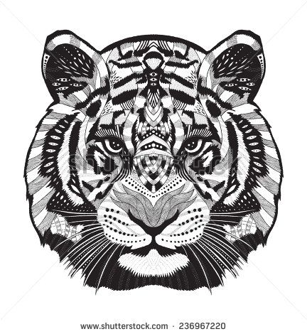 Tiger psychedelic drawing adult colouring animals - Mandalas de tigres ...