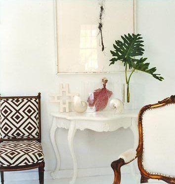 India Hicks Milky Furniture with Dark wood