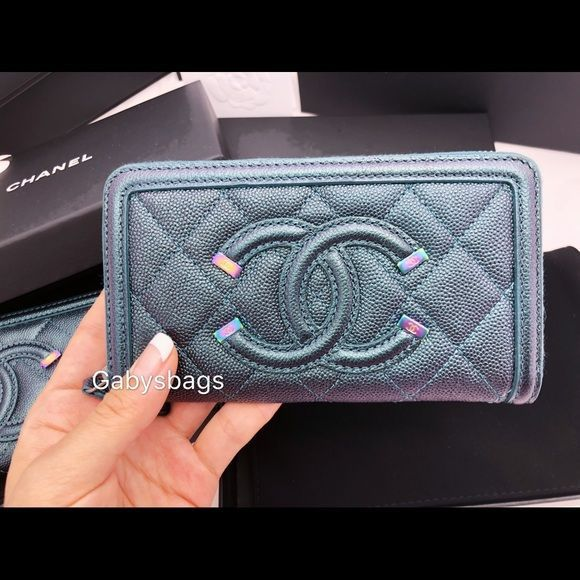 ccdf3d35411a Spotted while shopping on Poshmark: Chanel Zip Wallet iridescent rainbow  hardware 18B! #poshmark #fashion #shopping #style #CHANEL #Handbags