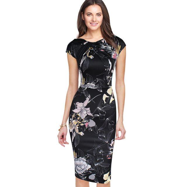VfEmage Womens Asymmetric Neckline Elegant Floral Print Ruched Twist Cap Sleeve Slim Casual Party Pencil Dress 1973