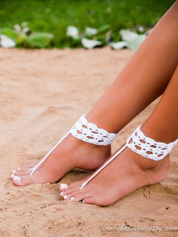 Haak barefoot sandals blootsvoets sandalen bruiloft bruiloft