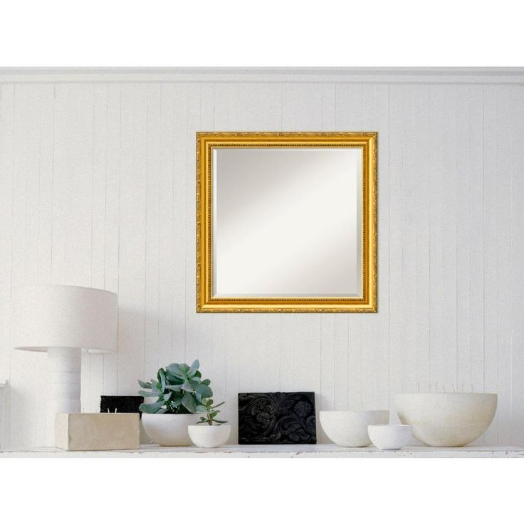 Colonial Embossed Gold Wood 24 in. W x 24 in. H Traditional Framed Mirror