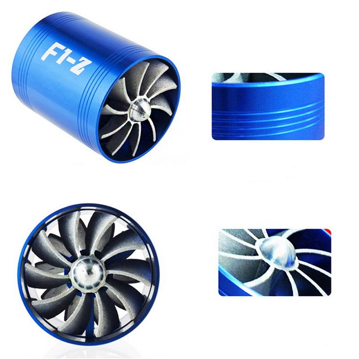 Turbo Air Intake Turbine Gas Fuel Saver Fan Turbo Supercharger Universal Turbine Turbo Air Intake Hose Diameter 65-74mm Blue