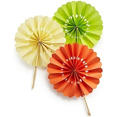 Paper Wheel Fan. Use your 'party color' for paper and popsicle sticks. You can use craft paper edge trimmers for different decorative edges for different seasons.  Easy for kids to make or make ahead for summer partys.