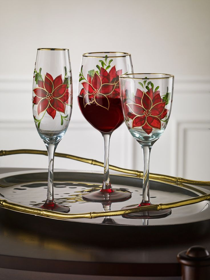 Poinsettia Stemware | Christmas Tabletop Accessories