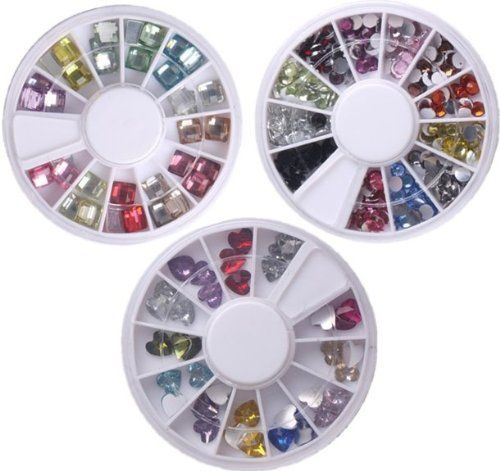 WAWO 12 Colors Square Crystal Nails Decoration   Colorful 3mm Plastic Round Shaped Nail Art DIY Plastic Heart Shaped Nail Stone by Tayongpo * Click image to review more details.