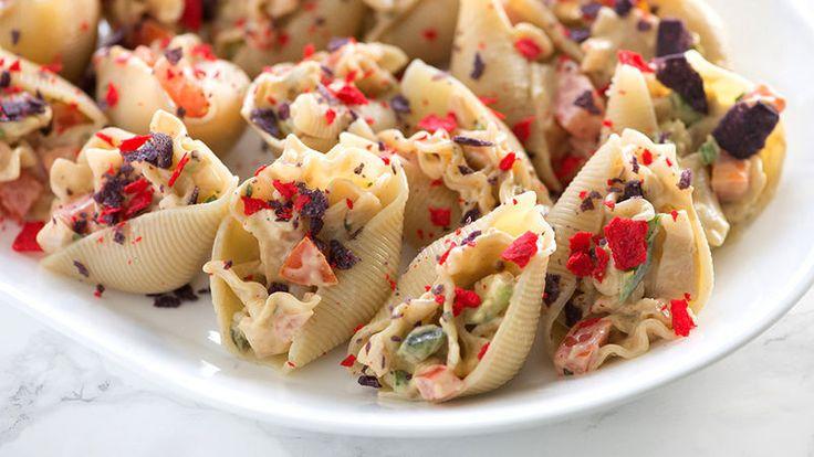 Creamy Southwestern pasta salad stuffed in a jumbo pasta shell!