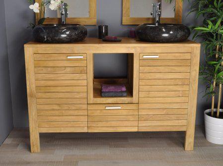 Meuble sous vasque en teck COURCHEVEL 120 #meuble #teck #salledebain