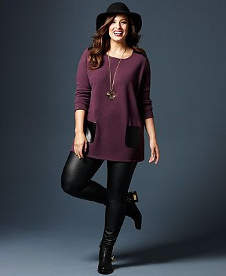 Fall Trend Report Plus Size Look of Leather Sweater & Leggings Look