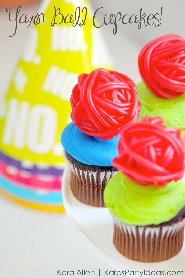 Yarn Ball Cupcakes at a Cat | Kitty Party! Kara Allen | Kara's Party Ideas for Friskies Party Mix - Grumpy Cat's Birthday Party KarasPartyIdeas.com #catparty #kittyparty #catcupcakes