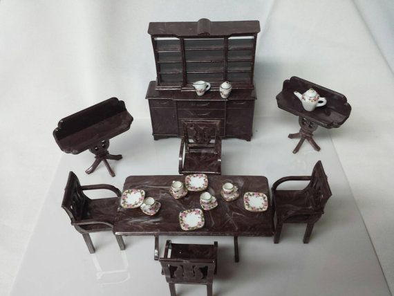 Plasco dining room furniture dollhouse traditional style 1944 shops etsy and etsy shop - Dollhouse dining room furniture ...