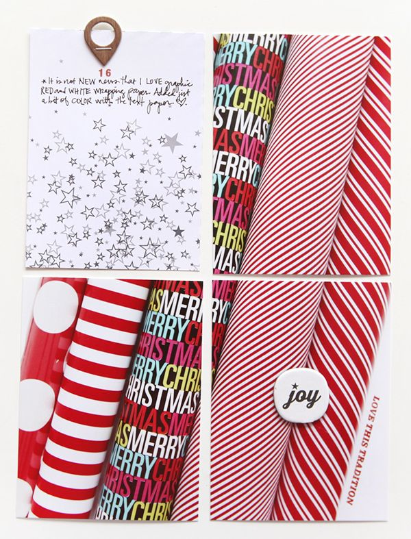 Ali Edwards December Daily - I love the idea of documenting what wrapping paper you are using that year, what colors you like, etc!