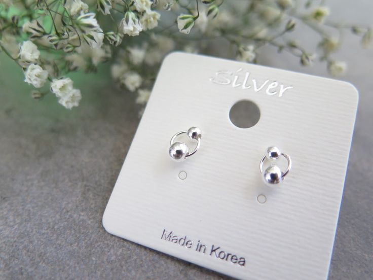 925 Sterling Silver Earrings/Two circle ball studs Earrings with gift box/ Simple  stud Earring / circle earrings by thinlight on Etsy