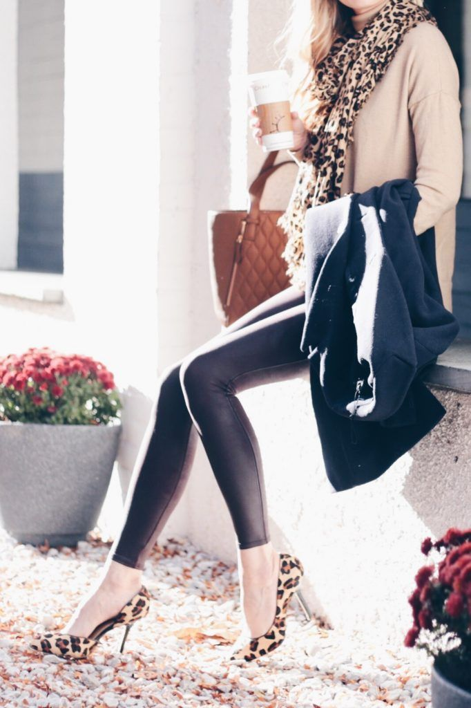 leopard pumps with leather leggings and camel sweater and leopard scarf