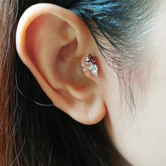 Sterling Silver Tragus Ring Ear Cuff Conch Ring Double Tragus Ring Ear Cuff Fake Piercing Simple Two Double Lines Non Pierced Ear Cuff