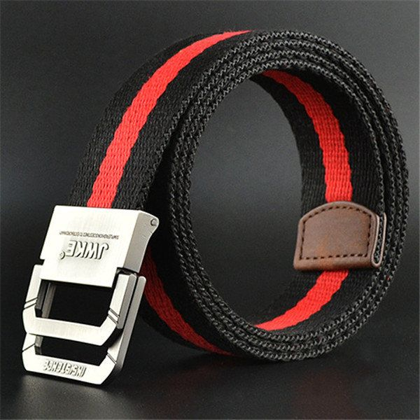130CM Mens Canvas Double Loop Leisure Belt Outdoor Climbing Simple Military Tactical Nylon Belt