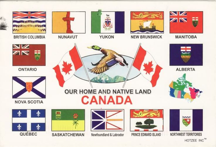 Postcrossing notes: Flags of Canadian provinces
