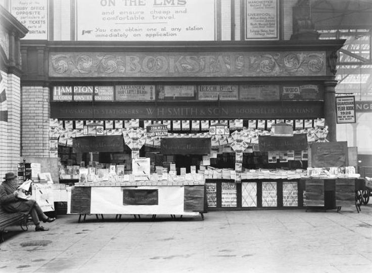 Bookstall at Manchester Victoria station, England, c1926.
