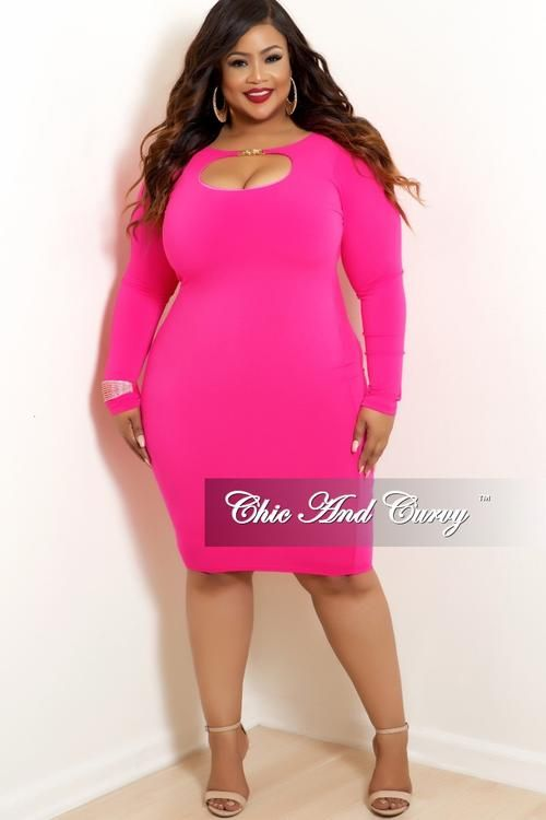 7d46788be74ba Final Sale Plus Size BodyCon Dress with Front Cutout in Highlight Neon Pink