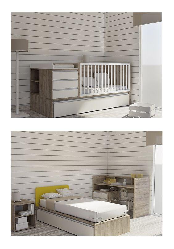 #Cuna convertible en #cama. Además incorpora una cama nido de 90x190cm. / #Llitet convertible en #llit. A més incorpora un llit niu de 90x190cm.: