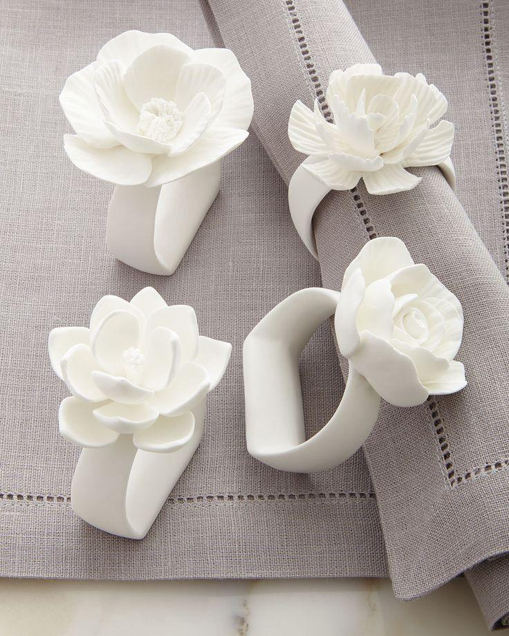 Porcelain Flower Napkin Rings, 4-Piece Set, White - Zodax