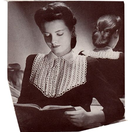 This Crochet Collar Pattern, No 2583 from The Spool Cotton Co is a large design with large yoke and topped with a small notch collar  -- Vintage Knit Crochet Pattern Shop