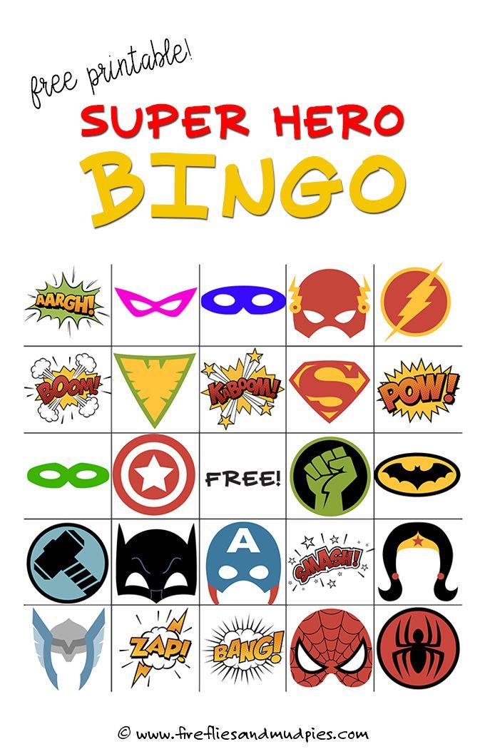 Free Printable Superhero Bingo Game—perfect for birthday parties!   Fireflies and Mud Pies