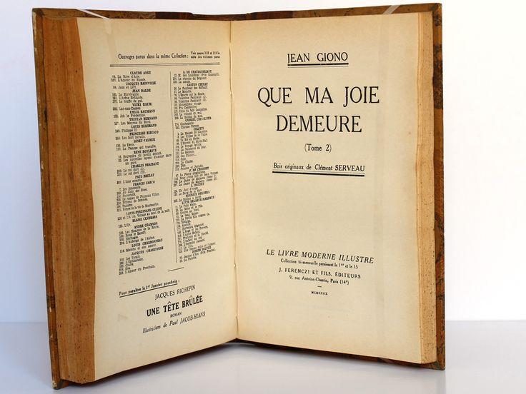 Giono. Que ma joie demeure. Ferenczi. 1939. Page titre_2.