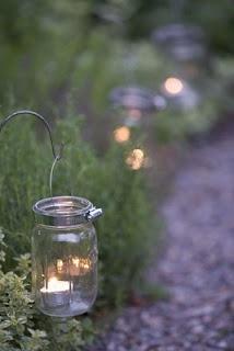 Garden lights hanging tea lights to light paths