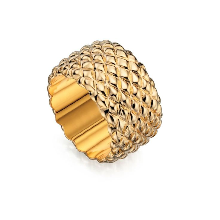 Fiorelli Costume Shiny Gold Textured Wide Ring - Make a statement with this designer ring by the renowned and high fashion Fiorelli brand, is beautifully produced with white or yellow alloy: http://ow.ly/XA0xc