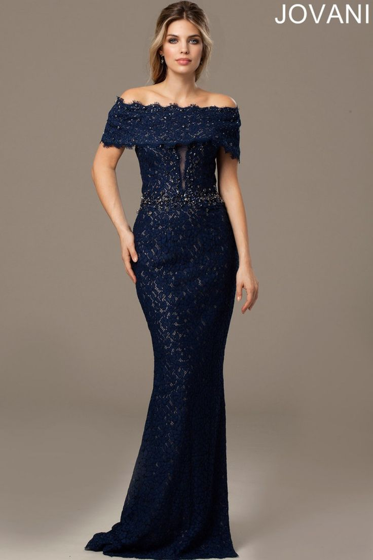 Jovani Dresses | Womens Navy Lace Bardot Dress | Womens Dresses Online | Boudi Fashion | 98026A