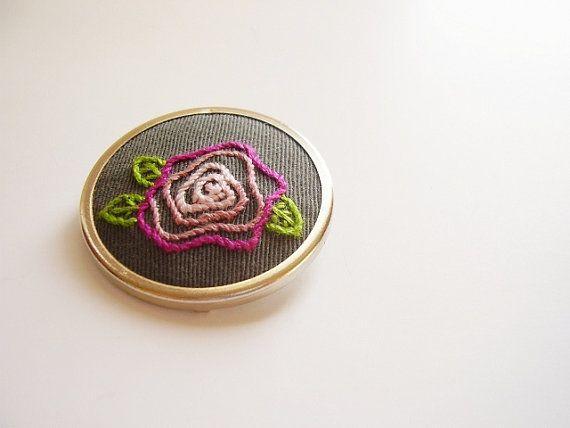 Little rose Embroidery brooch wearable art OOAK by rosemauve, $24.00
