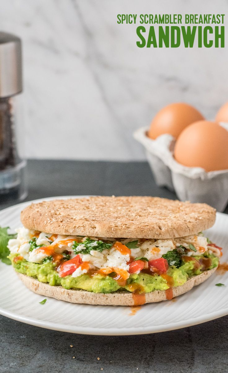 Spicy Scrambler Breakfast Sandwich: Fire up your senses with a spicy breakfast sandwich on a Brownberry Sandwich Thins 100% Whole Wheat Roll. Made with scrambled egg whites, red peppers, broccoli florets, mashed avocado and a drizzle of Sriracha.