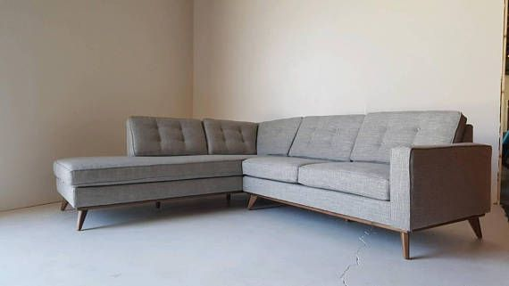 Custom built to order Mid Century Modern Sectional Chaise. All built in house from the ground up to your design. With your choice of stain finish(upgrade to real walnut wood #7) and fabric of your liking. Filled with high density medium soft foam core (medium and firm available open