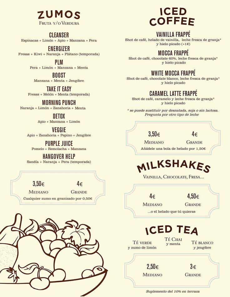 Zumos de fruta y verdura, repostería, café y té y desayunos completos en Mistura. Consulta nuestra carta para ver todas las combinaciones que te proponemos.