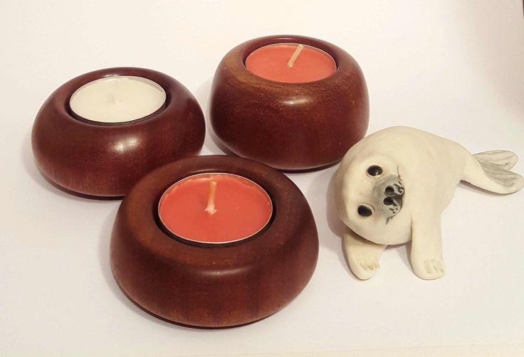 Small wooden tea-light made from mahogany by OakWoodIreland on Etsy