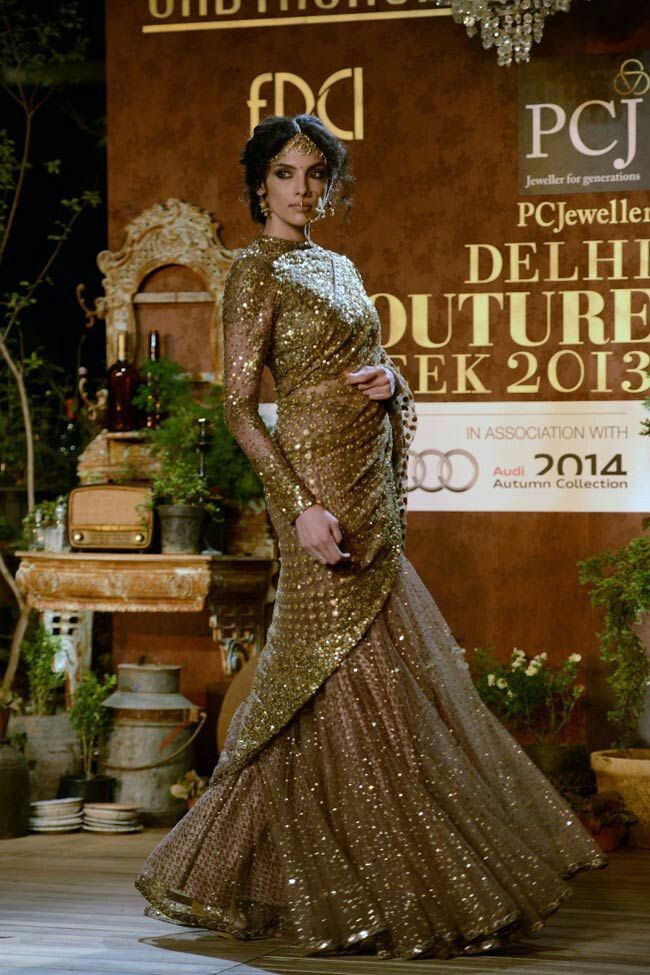 2013 couture collection , indrani , gold sequence saaree