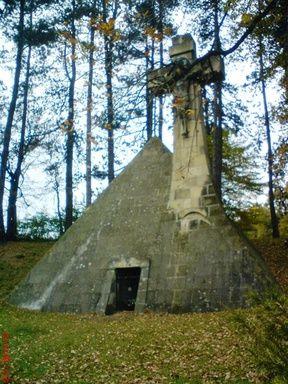 Zagorzany, Poland - Alexander Skrzynski Mausoleum - pyramid with a cross !