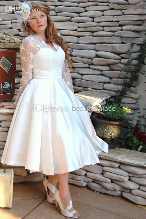 Wholesale Plus Size Sheer Garden V Neck Wedding Dresses With Long Sleeves 2014 Tulle Stain Ball Gowns Lace Appliques Short Tea Length Bridal Dress, Free shipping, $92.49/Piece | DHgate Mobile
