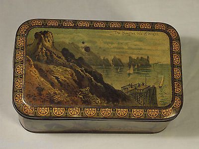 "SUPERB ANTIQUE CARR&CO BISCUIT TIN ""ISLE OF WIGHT""C1892 NEEDLES boats yachts sea"