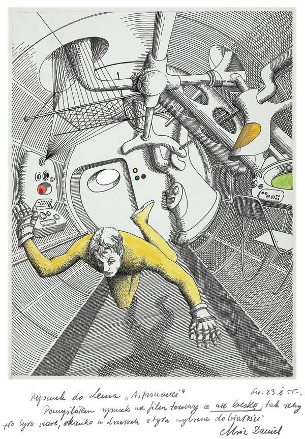 Daniel Mróz, Illustration, 1955, for Stanisław Lem's The Astronauts, 1951