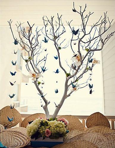 origami bird branch wedding centerpieces