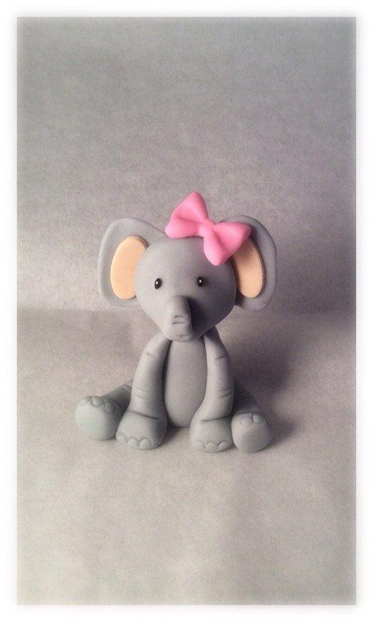 Elephant Cake Topper #PinkElephantBabyShower elefant pink animal baby shower party girl fondant topper cupcake cake birthday princess 20.99 USD ToppersbyAlma