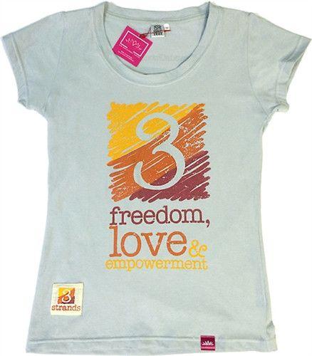 T-Shirt 3 Strands Logo - Womens Blue