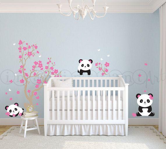 Pandas and Cherry Blossom Tree, Panda Decal, Panda Vinyl Wall Decal for Nursery, Kids, Childrens Room 029 on Etsy, $75.00